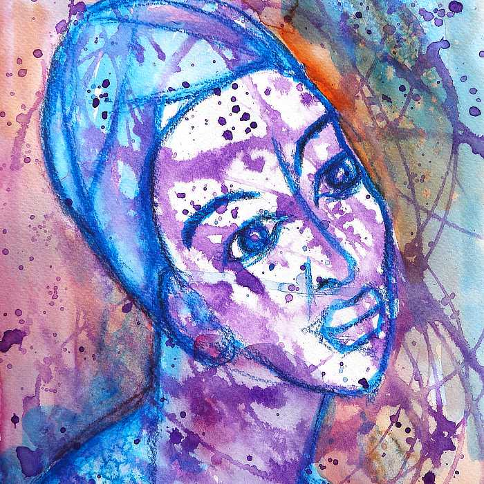 Mixed Media Face in purple, blue and rust, by Kim Dellow
