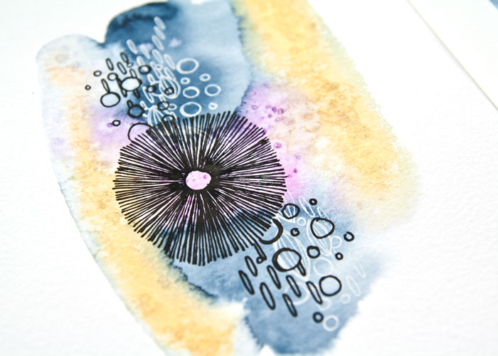 Close-up of Watercolor Abstract Painting on cold press paper from the Video by Kim Dellow