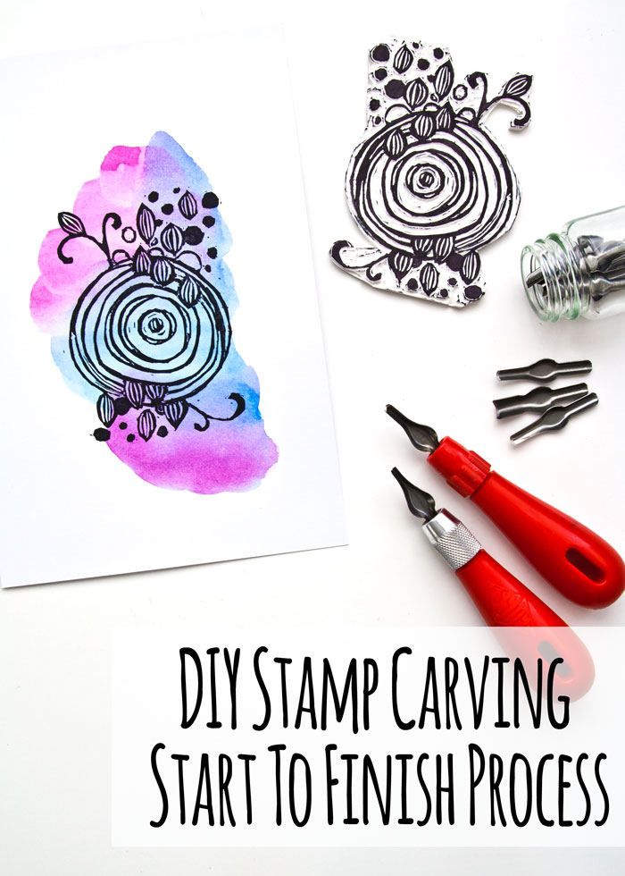 DIY Stamp Carving Start To Finish Process with a video by Kim Dellow