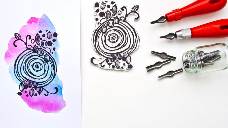 DIY Stamp Carving project with a process video by Kim Dellow