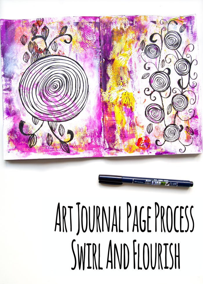 Art Journal Process - Swirl And Flourish with a video by Kim Dellow