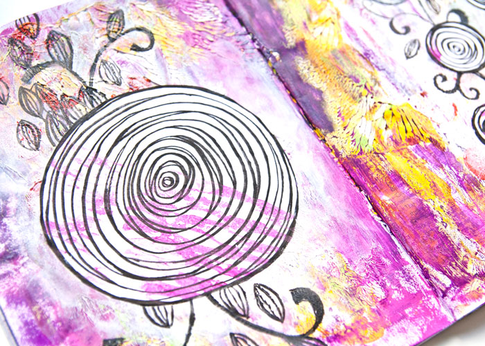 close-up of the left page of the Swirl And Flourish art journal page with a video by Kim Dellow