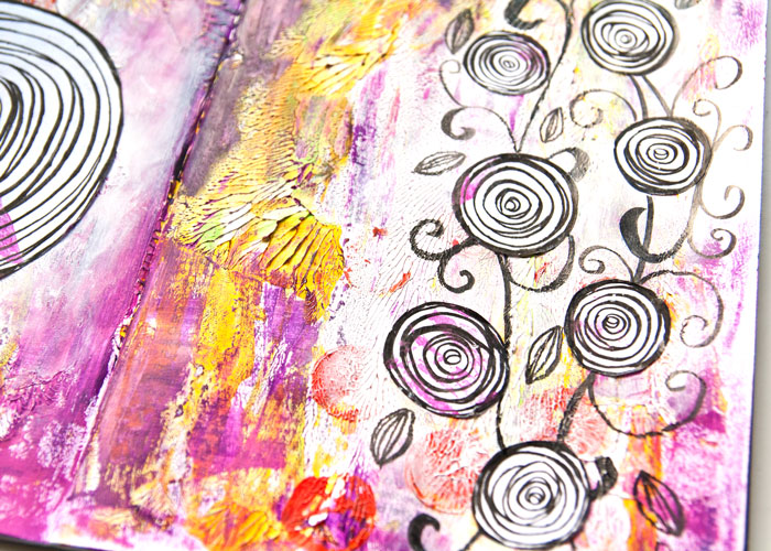 close-up of the right page of the Swirl And Flourish art journal page with a video by Kim Dellow