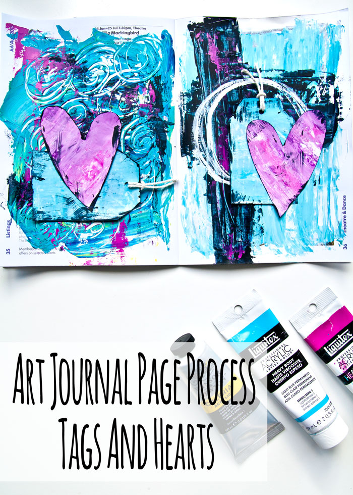 Art journal Page Process - Tags and Hearts with a video by Kim Dellow