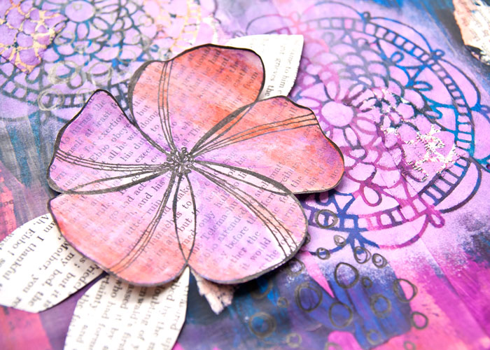 Close-up of the finished page from the Art Journal Page Process - Book Page Flower video by Kim Dellow