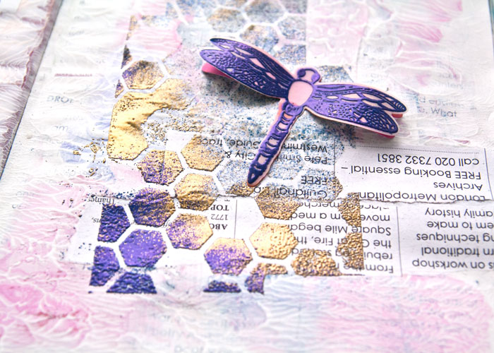 Close-up of the right hand page from the Embossing Powders With Stencils Video by Kim Dellow