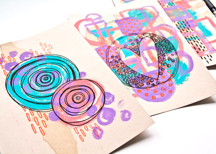 Close-up of the projects from the How to Start Mixed Media Art video by Kim Dellow