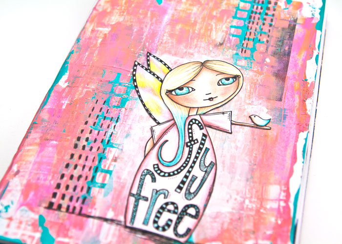 close-up of the Art Journal Page from the Simple Acrylic Paint Layers video by Kim Dellow