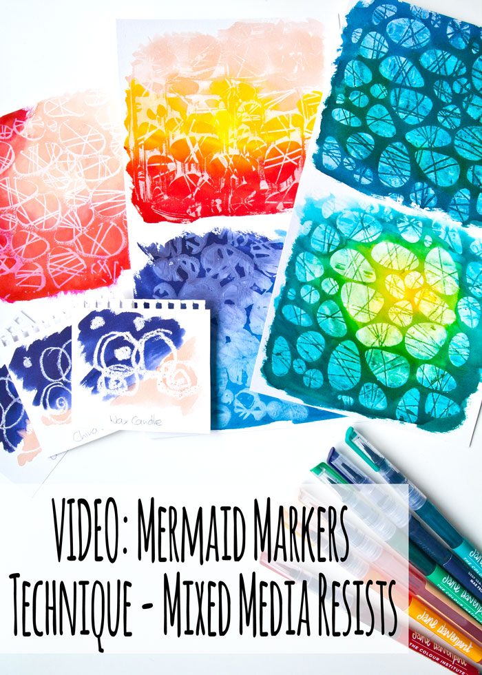 Mermaid Markers Technique - Mixed Media Resists Video by Kim Dellow