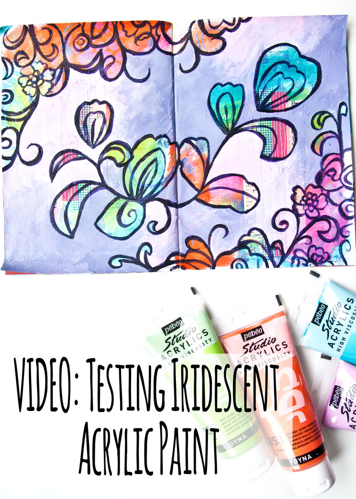 VIDEO: Testing Iridescent Acrylic Paint - Flourish Flower Art Journal Page by Kim Dellow