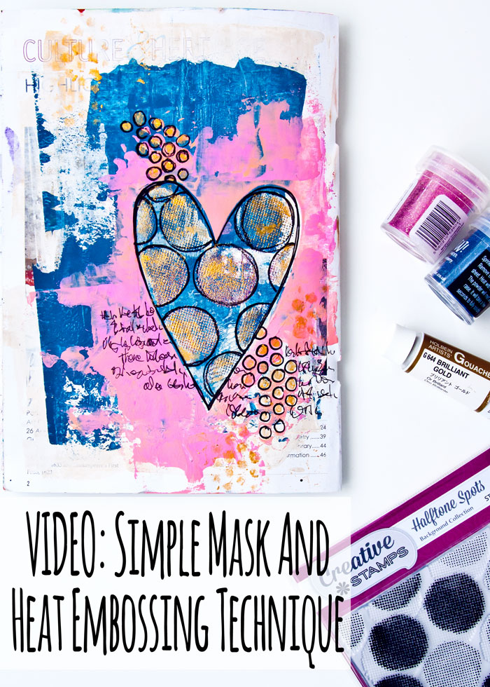 Simple Mask And Heat Embossing Technique art journal page