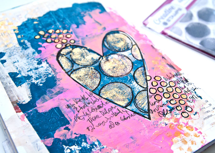 close-up of the Simple Mask And Heat Embossing Technique art journal page