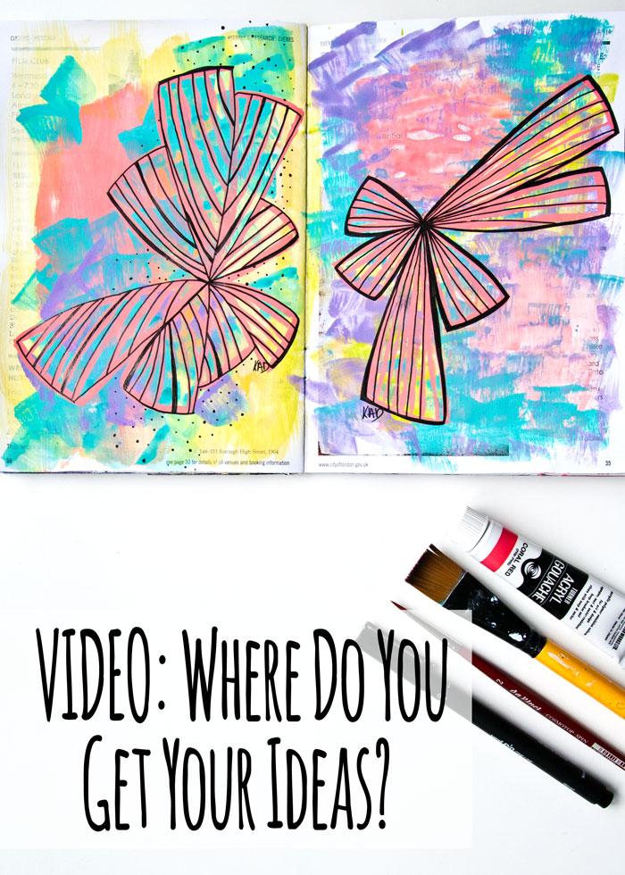 Two Art journal pages with a video and chat about how to get ideas.