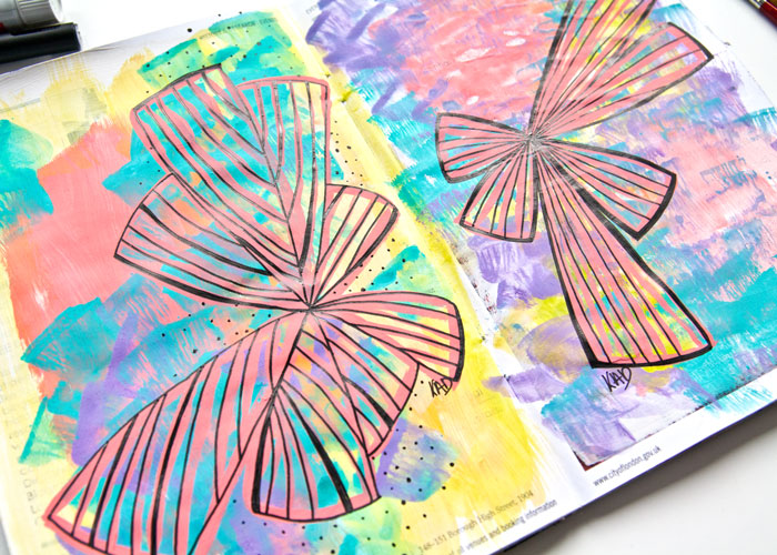 Close-up of the Two geometric shape design Art journal pages in gouache and pen.