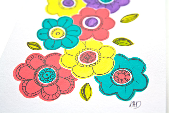 close-up of A stylised flower pattern in gouache paint and pen