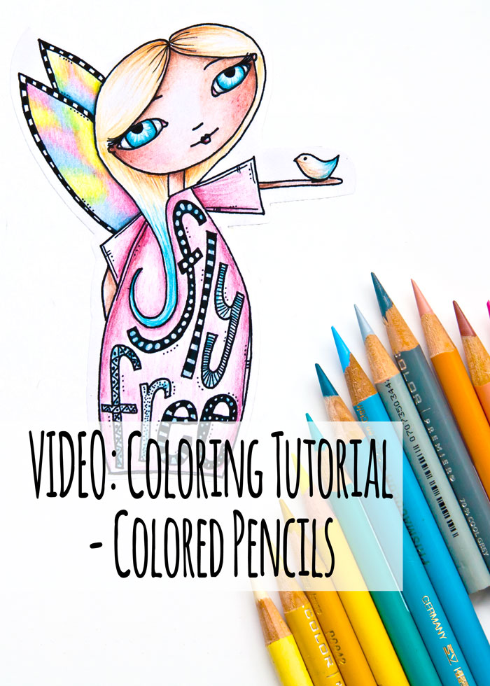 Pencil Coloring Tutorial, showing the coloring of a cute girl stamp