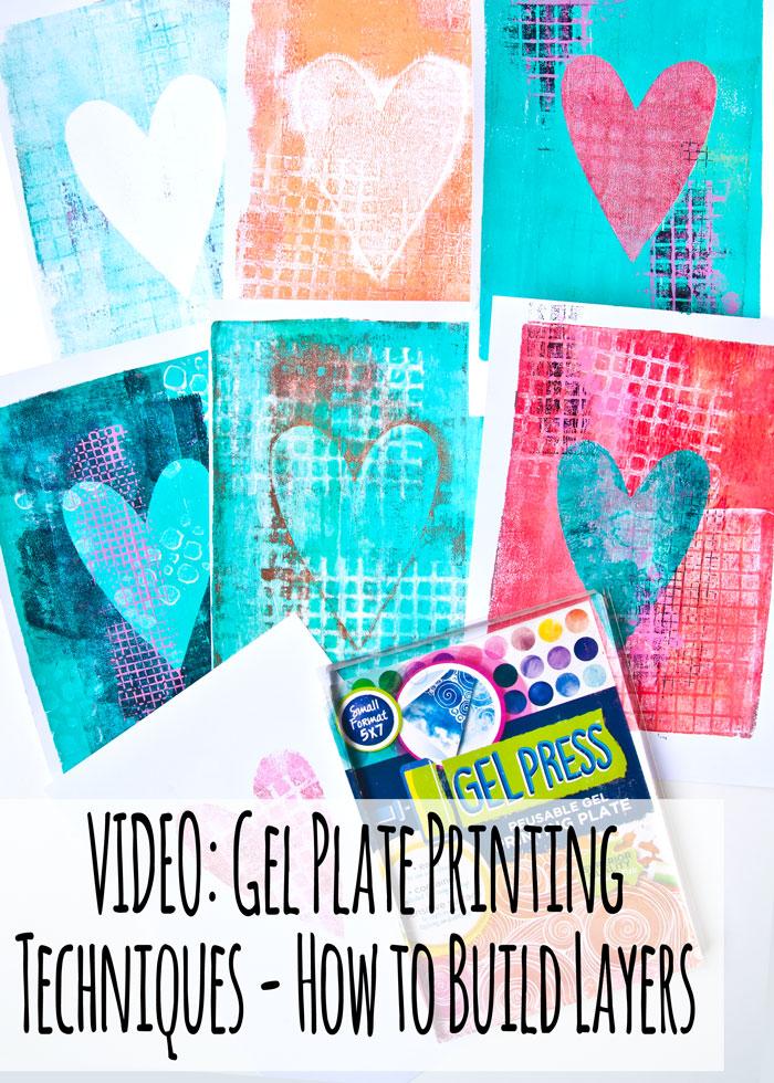 Gel Press Printed hearts