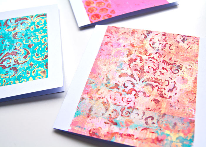How to gel print on card blanks close-up