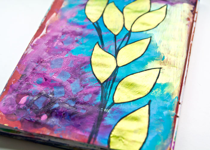 Art Journal - Iridescent Acrylic Paint Leaves close-up of the leaves by Kim Dellow