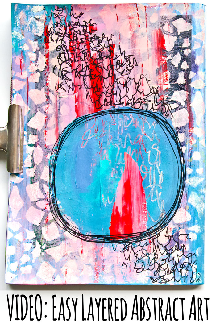 Video Easy Layered Acrylic Paint Abstract Art Journal Page