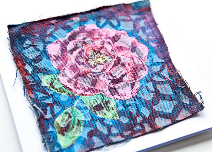 close up of the texture on the Mixed Media Rose