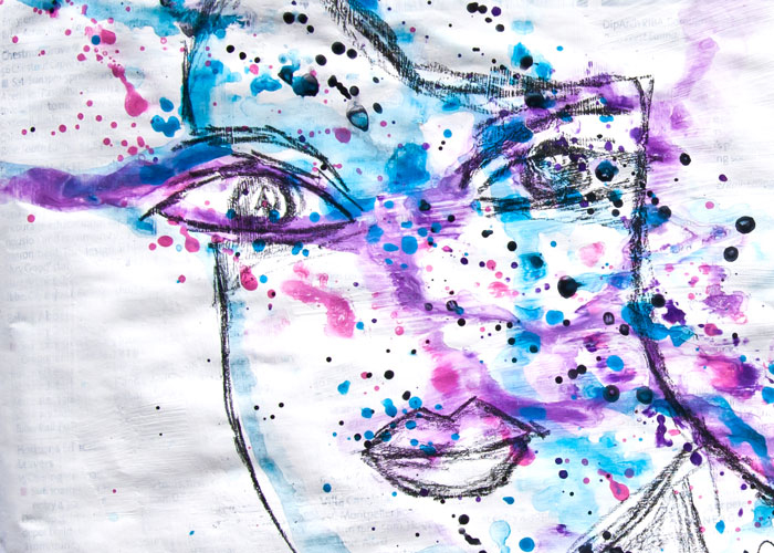 close-up of Mixed Media Face Art Speed Draw