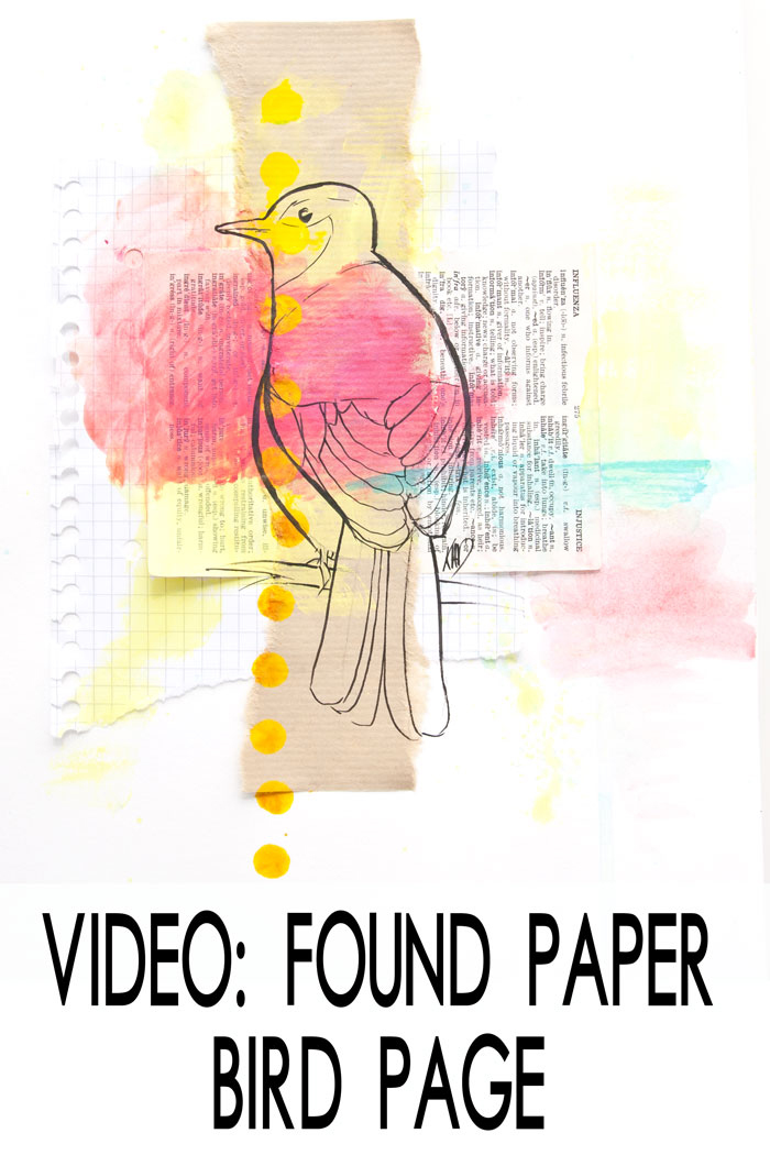 VIDEO: Art Journal Page - Found Paper Abstract And Bird Drawing