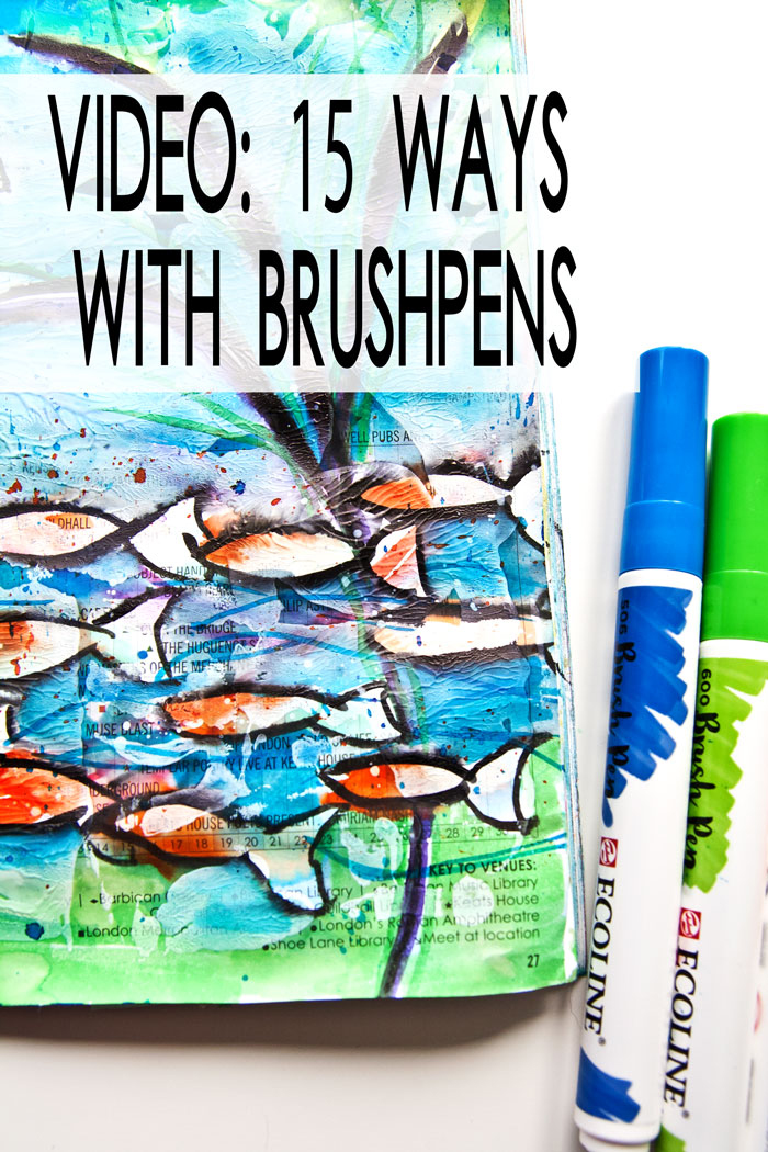drawn fish and Ecoline Watercolor Brush Pens