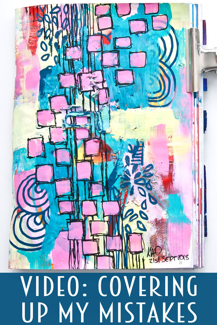 bright art journal page of pink, yellow and turquoise and lots of doodles by Kim Dellow
