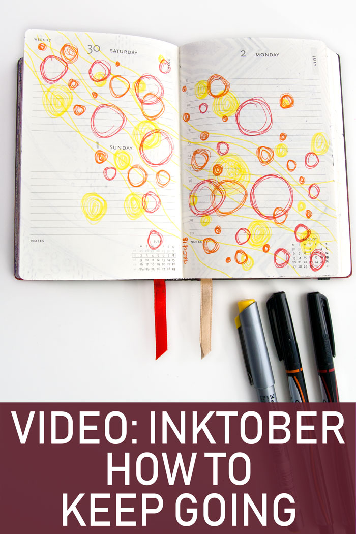 Day 11 ink circles doodle in yellow, red and orange for Inktober, by Kim Dellow