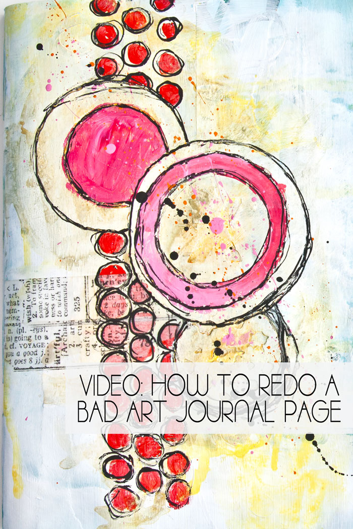 Painted art journal page by Kim Dellow with die-cut circle texture