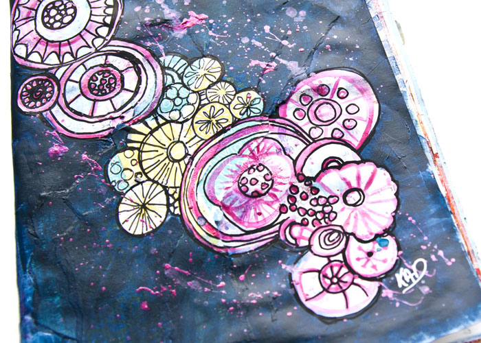 Close-up of a doodle design in ink and pen and paint by Kim Dellow