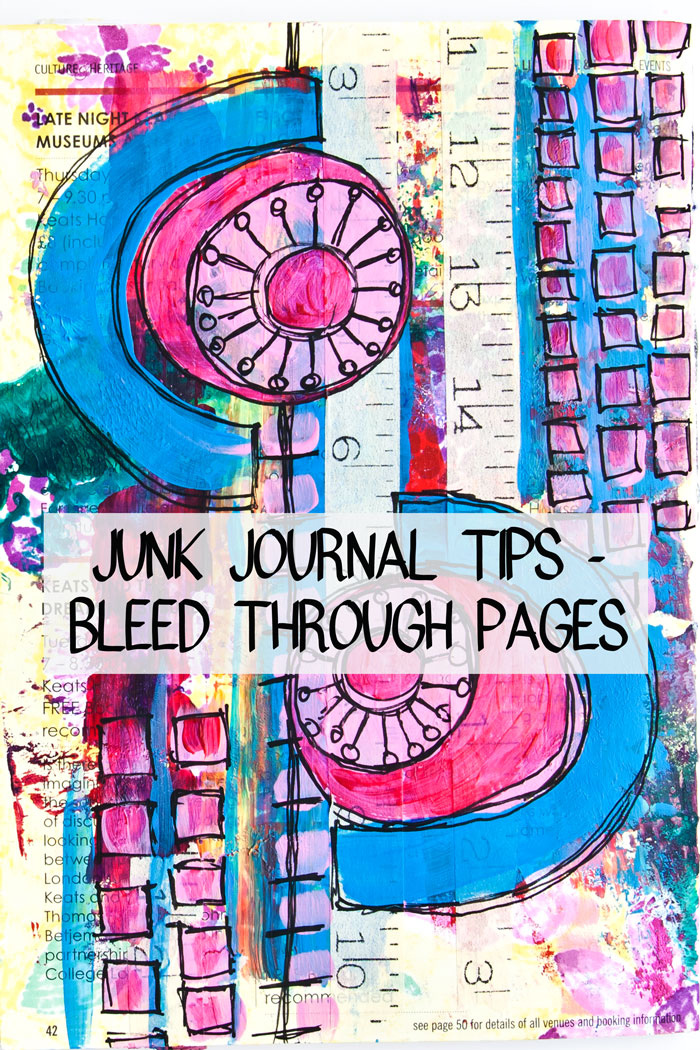 An abstract doodle junk journal page by Kim Dellow