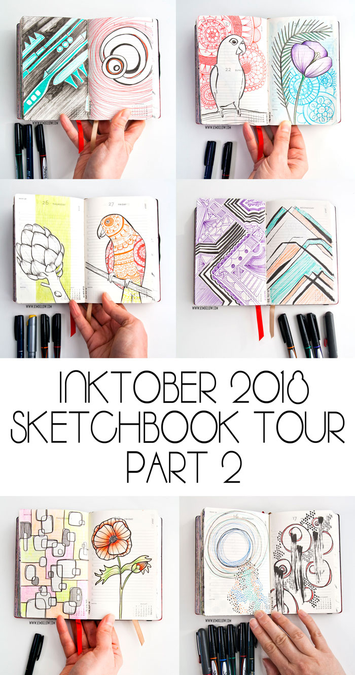 some pages from Kim Dellow's Inktober Doodles Sketchbook