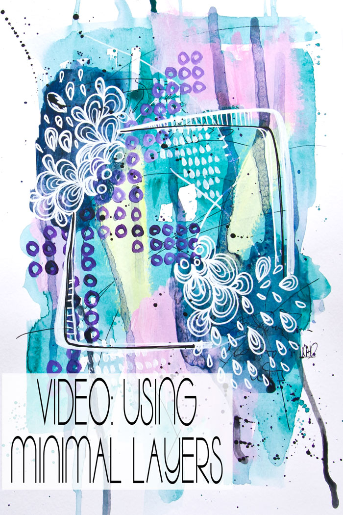 An art journal page built with minimal layers by Kim Dellow
