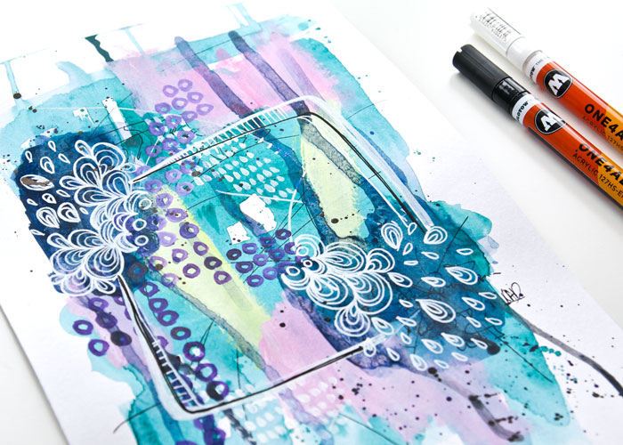 close-up of An art journal page built with minimal layers by Kim Dellow