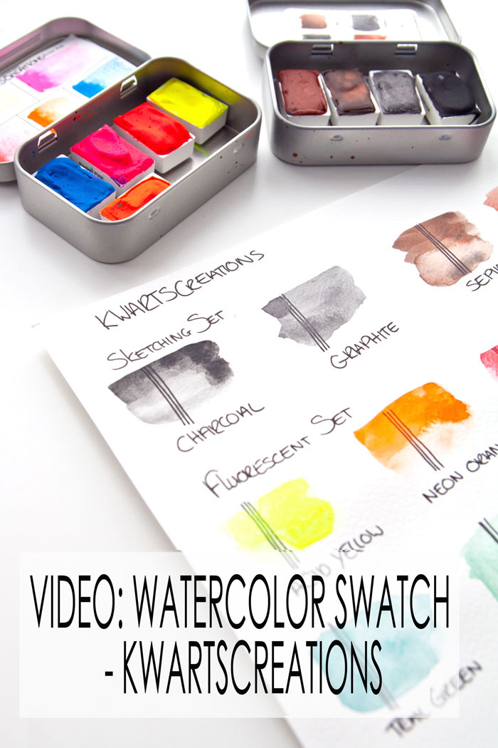 watercolor swatch of new watercolors video by Kim Dellow