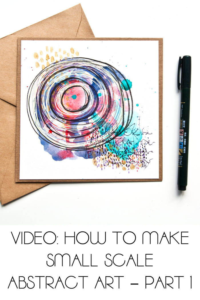 A mini paint and pen abstract card project by Kim Dellow
