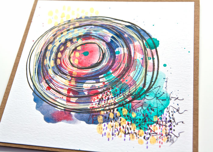 close-up of a A mini paint and pen abstract card project by Kim Dellow