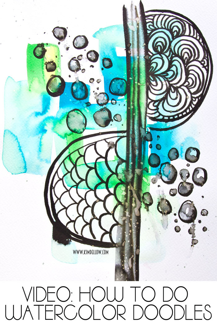 Watercolor doodle project in greens and blues and black by Kim Dellow