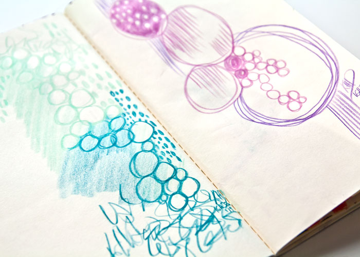 close-up of colored pencils doodles by Kim Dellow, with a video chat about being perfectionism