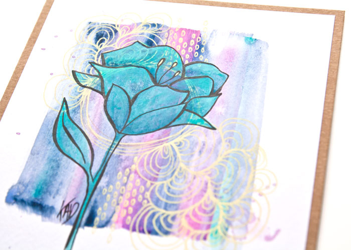 close up of the paint a flower by Kim Dellow project in teals and yellow