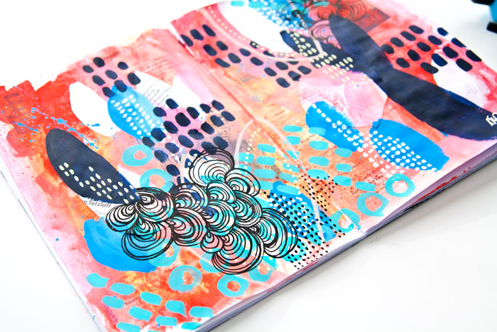 Close-up of a page of painted doodle inspiration by Kim Dellow