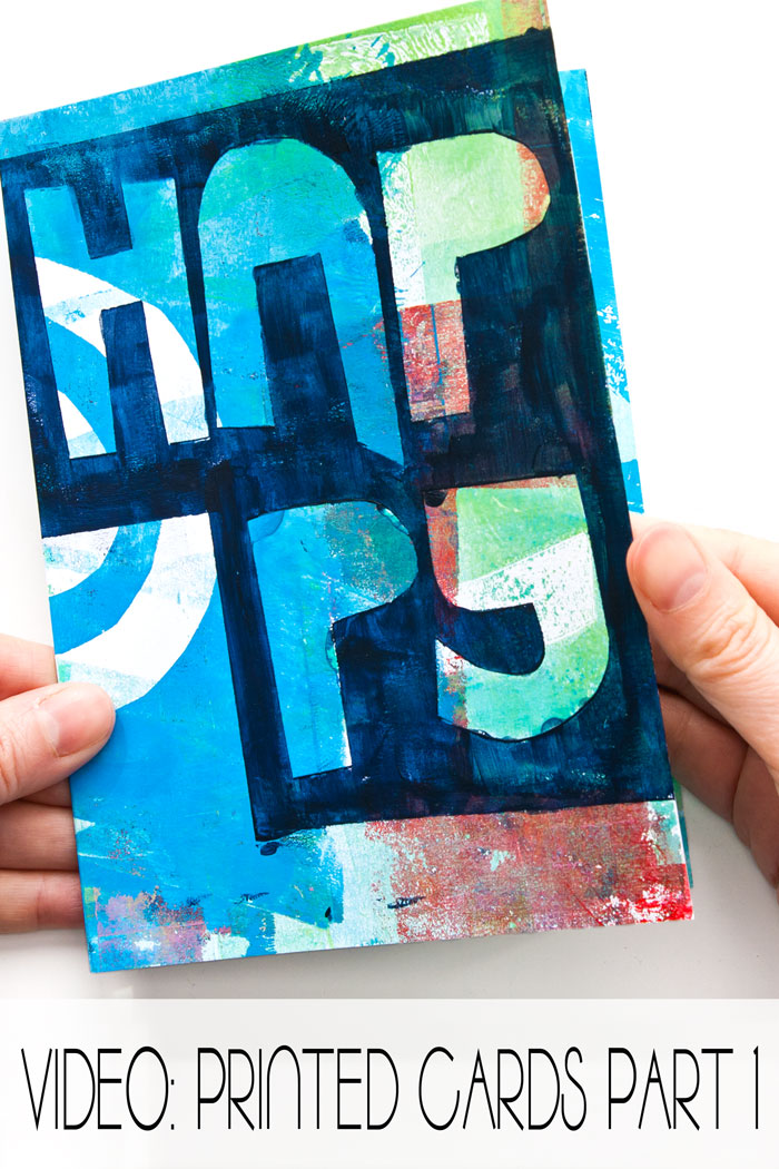 A greeting card made with gel printing by Kim Dellow