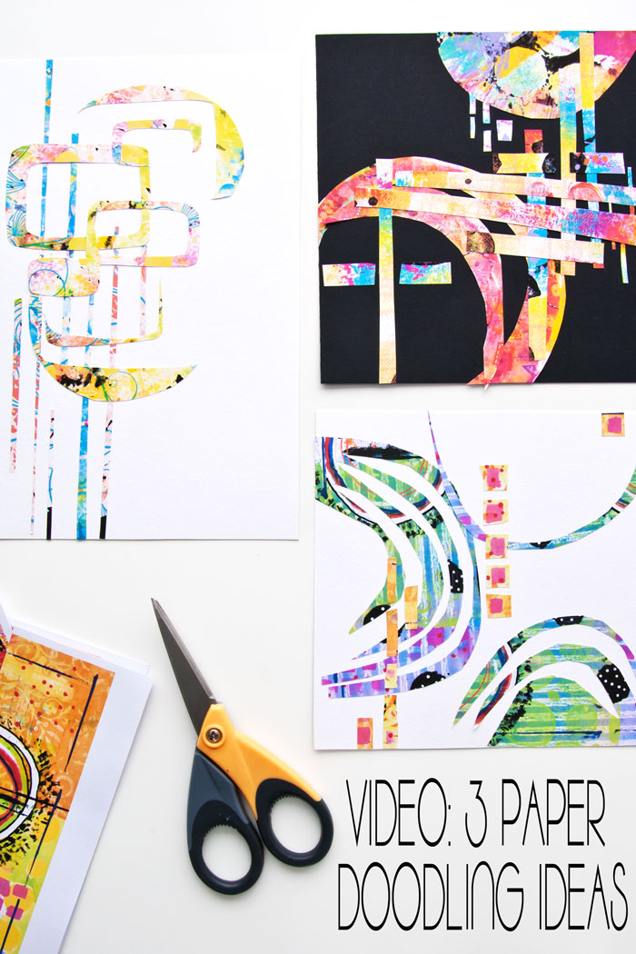 3 different paper doodling ideas from Kim Dellow