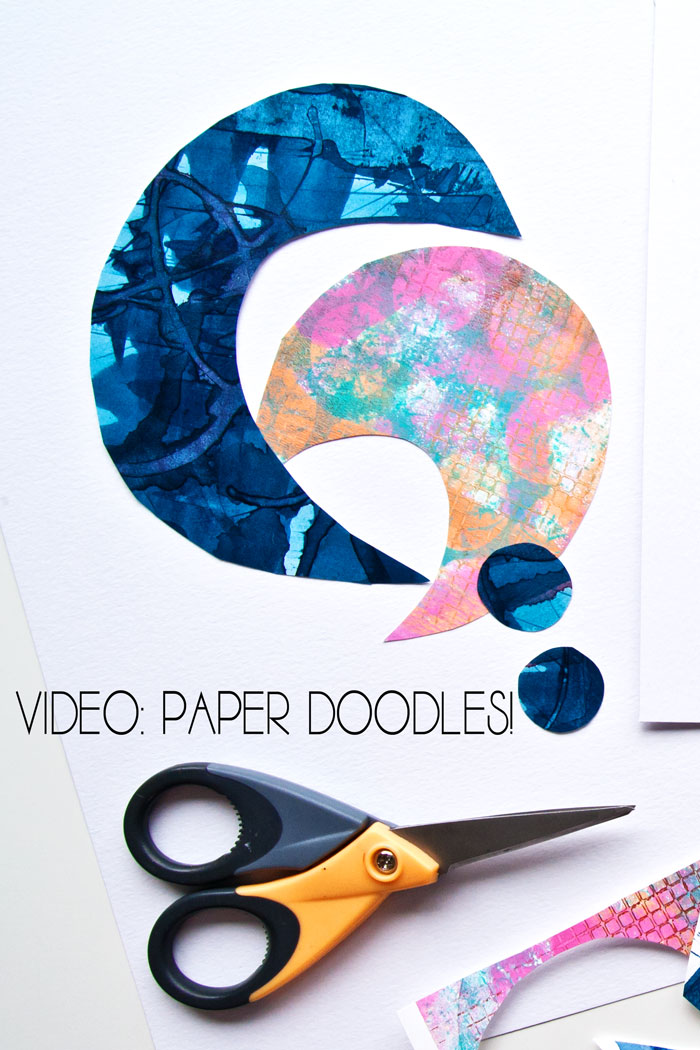 colored paper collage paper doodles by Kim Dellow