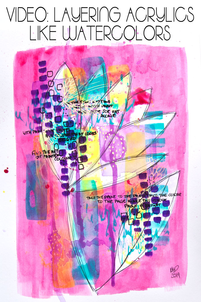 Bright abstract floral in pink, yellow and teal mixed media art by Kim Dellow