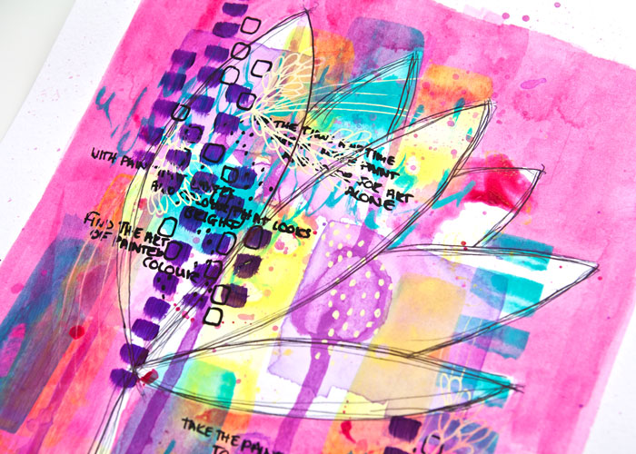 close-up view of bright abstract floral in pink, yellow and teal mixed media art by Kim Dellow