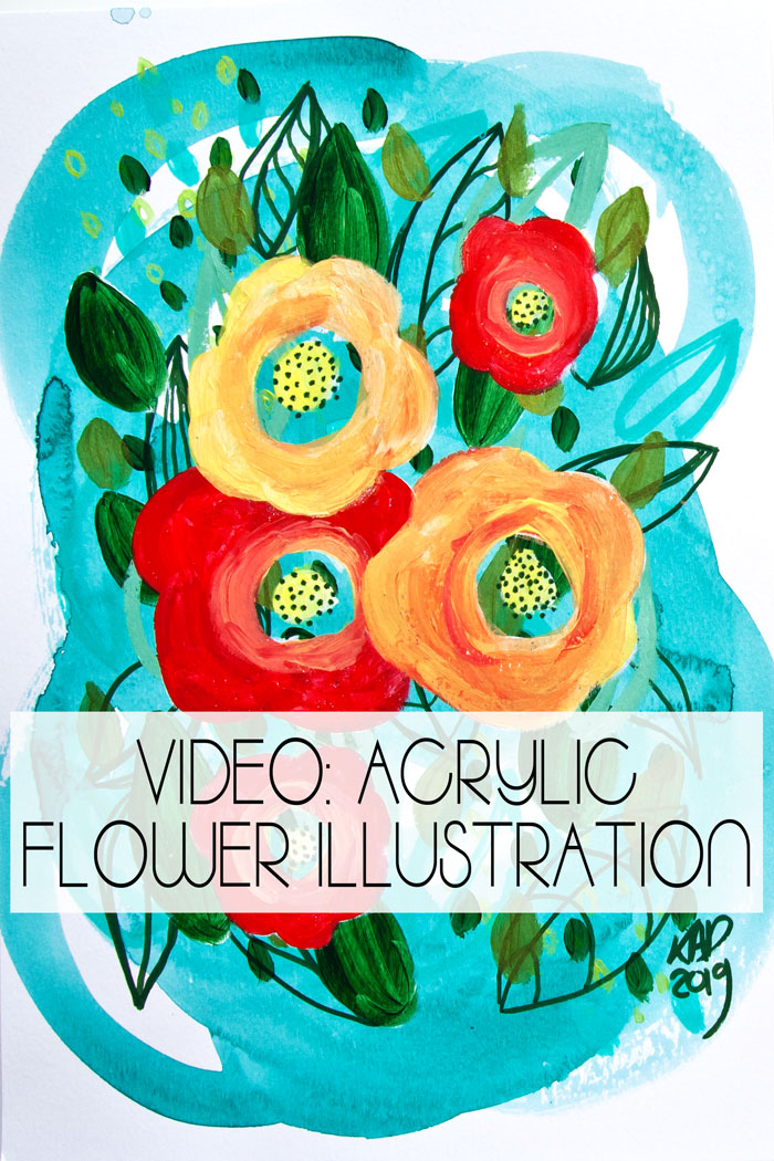 Bright Acrylic Paint Flower Illustration video by Kim Dellow
