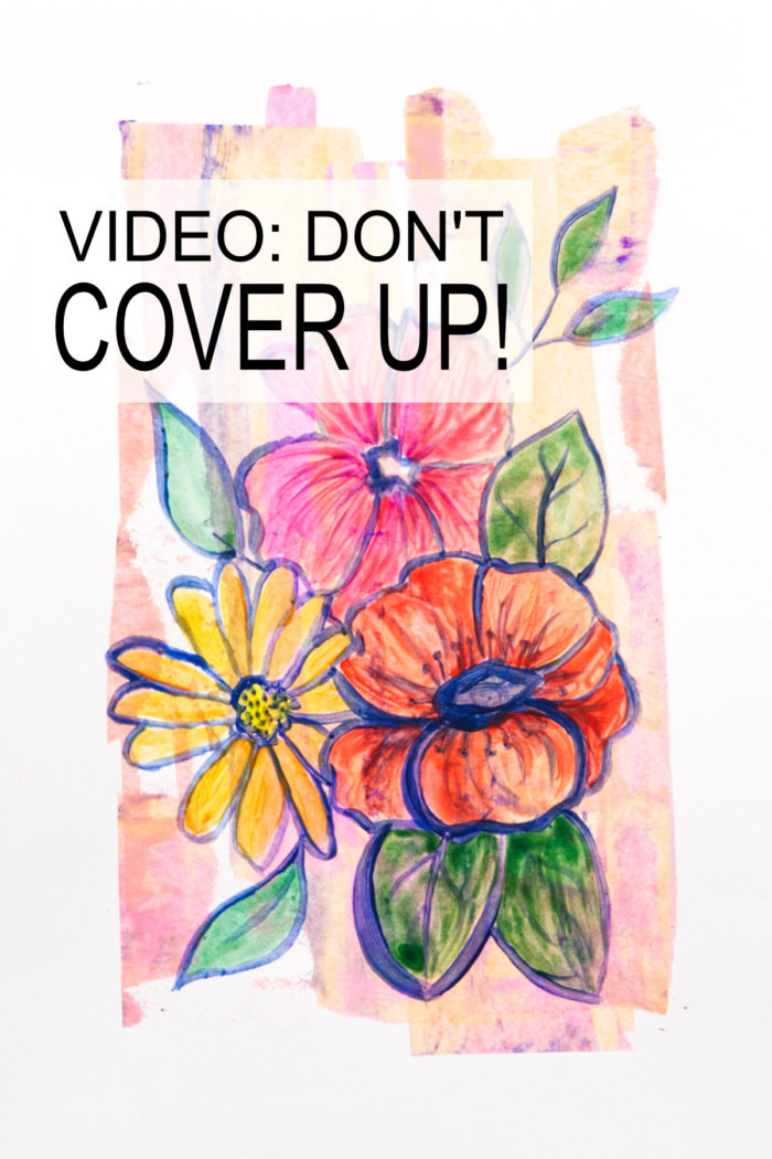 Flower art that does not cover up the background, a tutorial by Kim Dellow